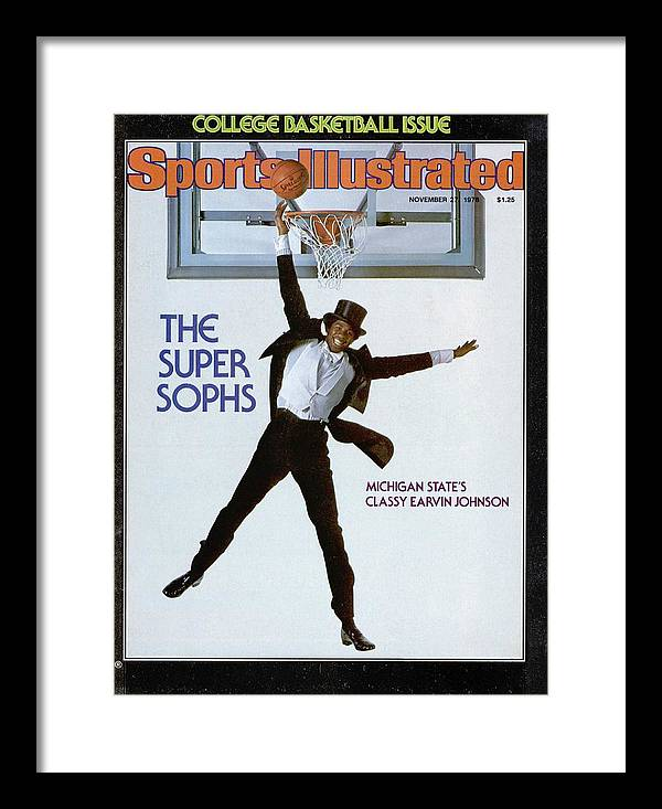 Magazine Cover Framed Print featuring the photograph Michigan State Magic Johnson, 1978 College Basketball Sports Illustrated Cover by Sports Illustrated