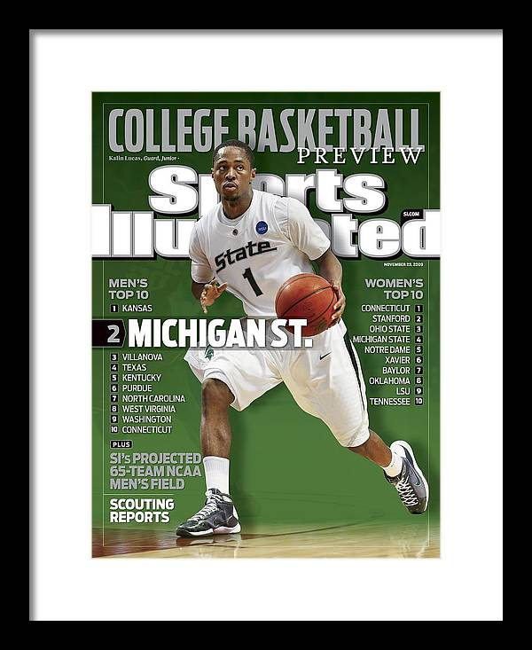 Hubert H. Humphrey Metrodome Framed Print featuring the photograph Michigan State University Kalin Lucas, 2009 Ncaa Midwest Sports Illustrated Cover by Sports Illustrated