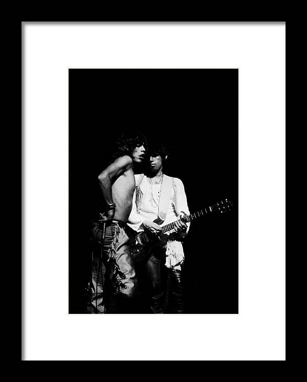 Rock Music Framed Print featuring the photograph Mick And Keith by Steve Wood