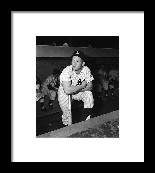 American League Baseball Framed Print featuring the photograph Mickey Mantle In Yankee Dugout by Frederic Lewis