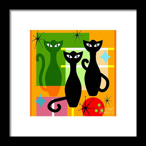 Wingsdomain Framed Print featuring the digital art Mid Century Modern Abstract Mcm Bowling Alley Cats 20190113 Square by Wingsdomain Art and Photography