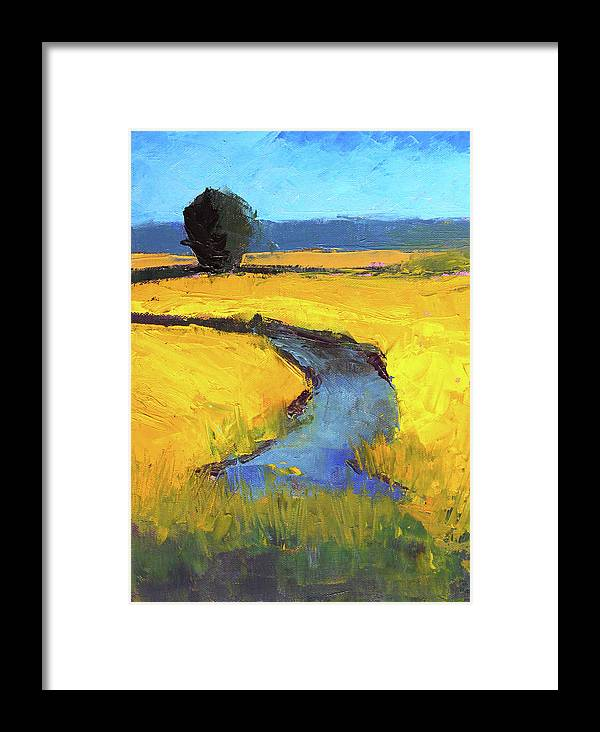 Yellow Landscape Framed Print featuring the painting Mid July by Nancy Merkle