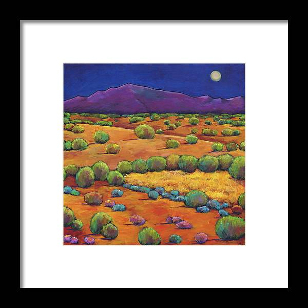 Contemporary Southwest Framed Print featuring the painting Midnight Sagebrush by Johnathan Harris