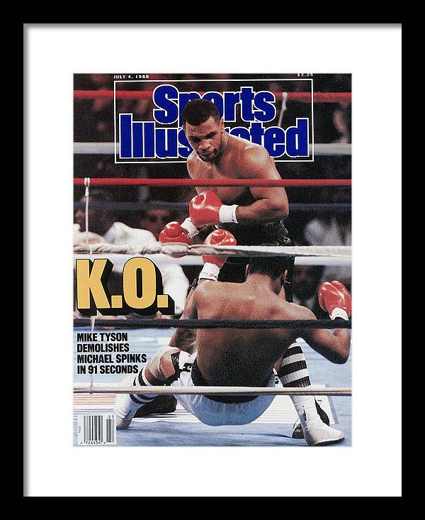 Magazine Cover Framed Print featuring the photograph Mike Tyson, 1988 Wbcwbaibf Heavyweight Title Sports Illustrated Cover by Sports Illustrated