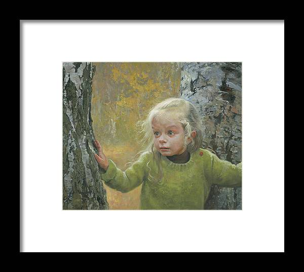 Girl Framed Print featuring the painting Mila Between Two Birches by Denis Chernov