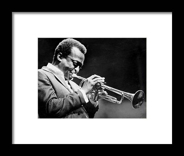 Performance Framed Print featuring the photograph Miles Davis Performs At The Newport by New York Daily News Archive