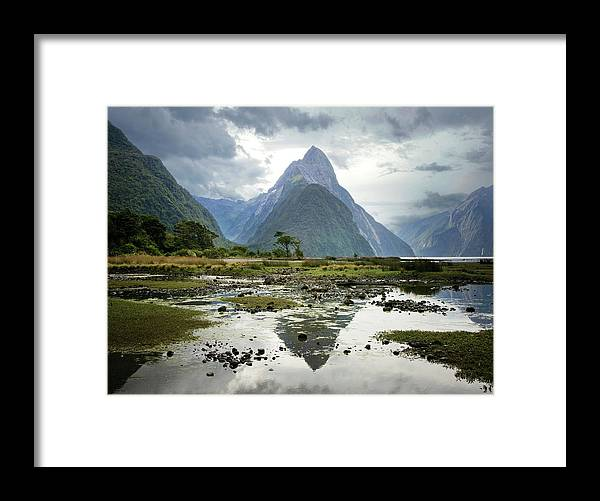 Tranquil Scene Framed Print featuring the photograph Milford Sound, South Island, New Zealand by Ed Freeman