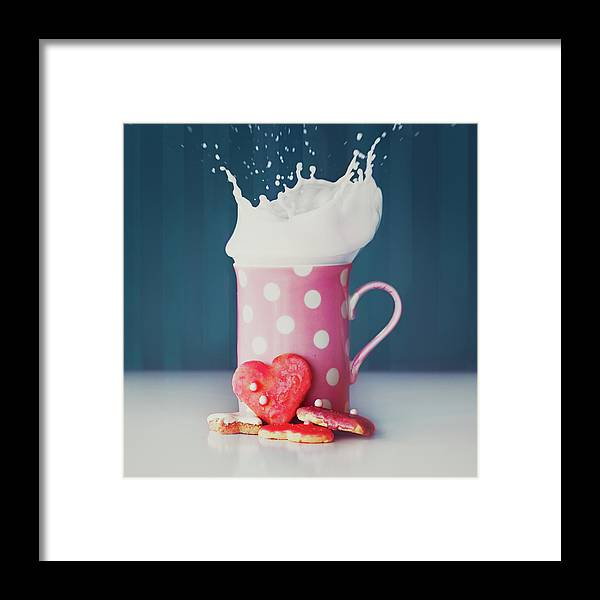 Milk Framed Print featuring the photograph Milk And Heart Shape Cookies by Julia Davila-lampe