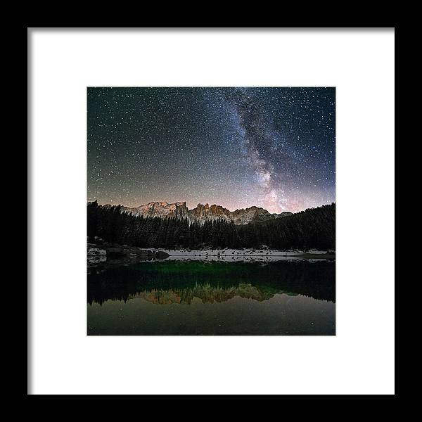 Scenics Framed Print featuring the photograph Milky Way In The Alps by Scacciamosche