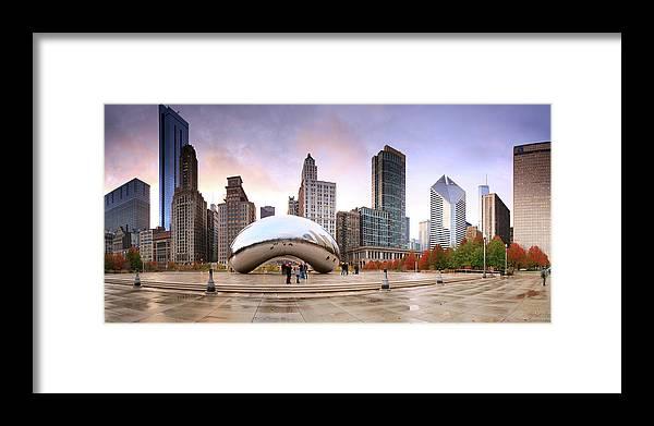 Dawn Framed Print featuring the photograph Millennium Park, Chicago, Illinois,usa by Travelpix Ltd