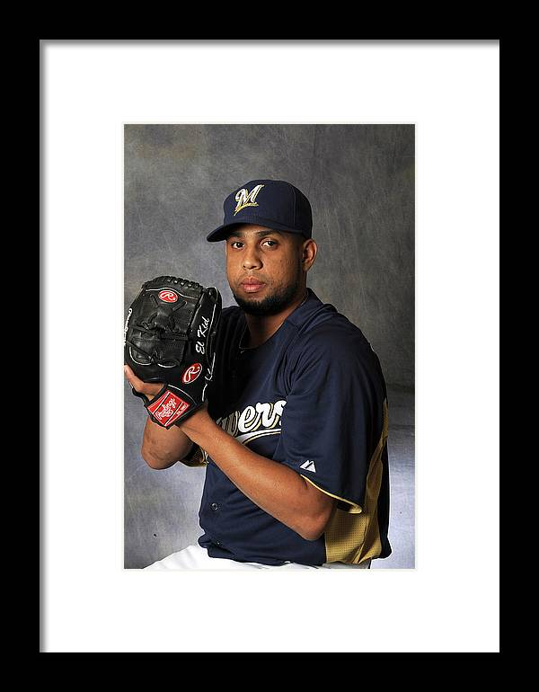 Media Day Framed Print featuring the photograph Milwaukee Brewers Photo Day by Rich Pilling