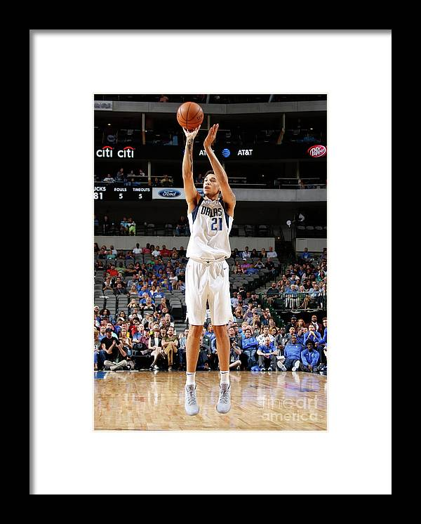 Nba Pro Basketball Framed Print featuring the photograph Milwaukee Bucks V Dallas Mavericks by Danny Bollinger