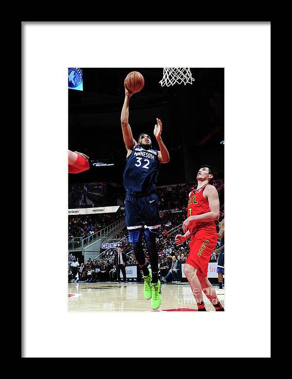 Atlanta Framed Print featuring the photograph Minnesota Timberwolves V Atlanta Hawks by Scott Cunningham