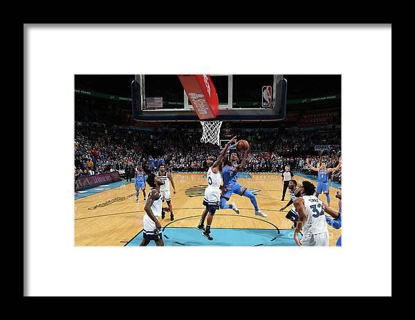 Nba Pro Basketball Framed Print featuring the photograph Minnesota Timberwolves V Oklahoma City by Zach Beeker