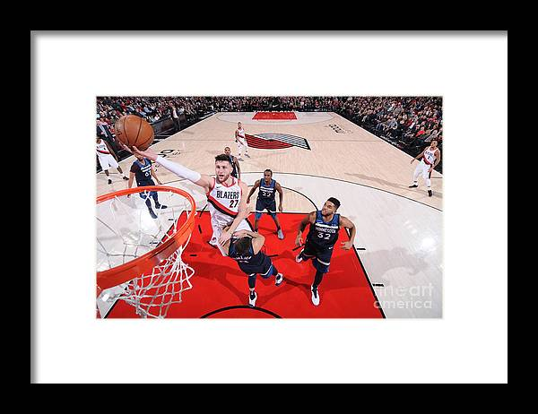 Jusuf Nurkić Framed Print featuring the photograph Minnesota Timberwolves V Portland Trail by Sam Forencich