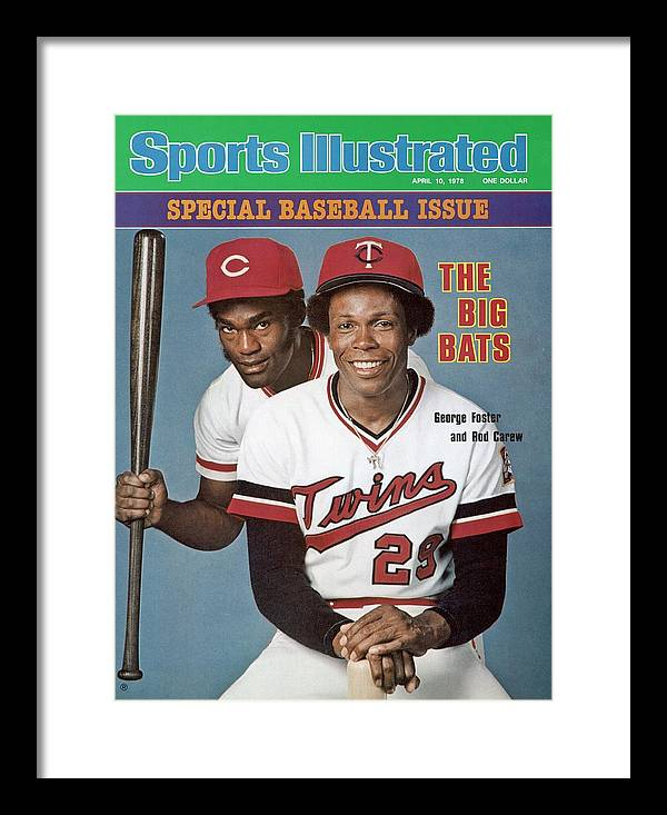 Magazine Cover Framed Print featuring the photograph Minnesota Twins Rod Carew And Cincinnati Reds George Sports Illustrated Cover by Sports Illustrated