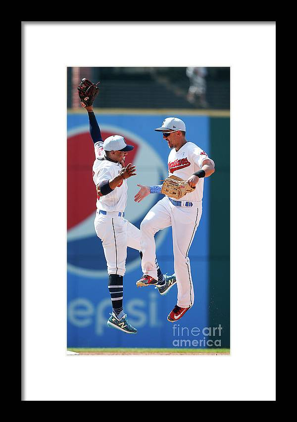 People Framed Print featuring the photograph Minnesota Twins V Cleveland Indians by Ron Schwane