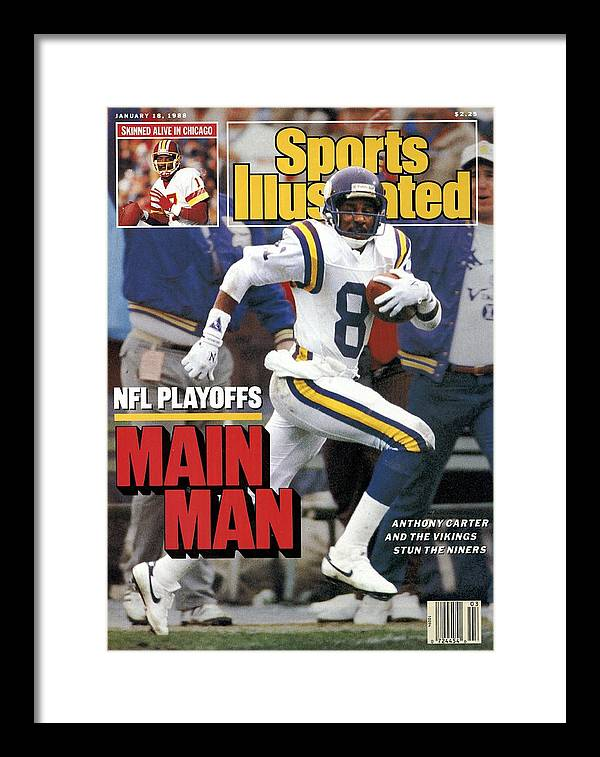Candlestick Park Framed Print featuring the photograph Minnesota Vikings Anthony Carter, 1988 Nfc Divisional Sports Illustrated Cover by Sports Illustrated