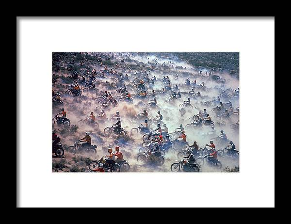 Crash Helmet Framed Print featuring the photograph Mint 400 Motocross Race by Bill Eppridge