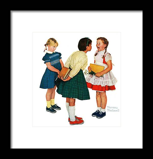 Books Framed Print featuring the drawing Missing Tooth by Norman Rockwell