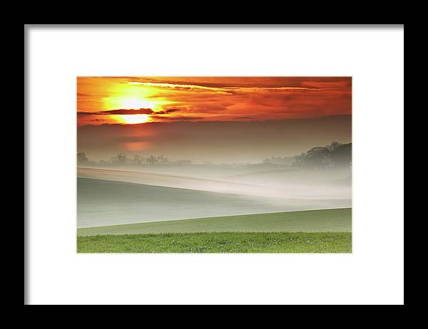 Tranquility Framed Print featuring the photograph Mist Over Landscape Of Rolling Hills by Andy Freer