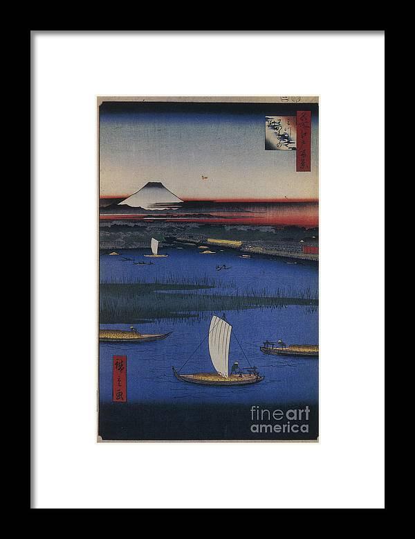 Art Framed Print featuring the drawing Mitsumata Wakarenofuchi One Hundred by Heritage Images