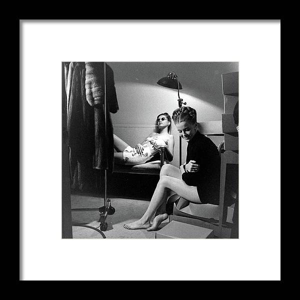 Built Structure Framed Print featuring the photograph Models At The Neiman Marcus Store, An by Nina Leen