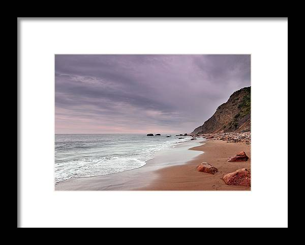 Water's Edge Framed Print featuring the photograph Mohegan Bluffs Beach- Block Island by Shobeir Ansari