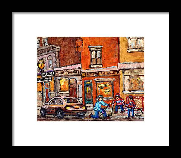 Montreal Framed Print featuring the painting Molly And Bill's Duluth Near Coloniale And St Dominique C Spandau Plateau Mont Royal Hockey Artist by Carole Spandau