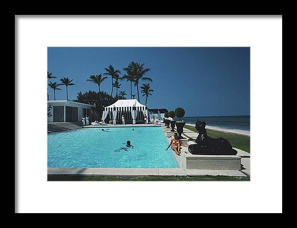 1980-1989 Framed Print featuring the photograph Molly Wilmots Pool by Slim Aarons