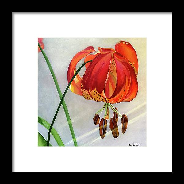 Painting Framed Print featuring the painting Moment in the Sun - Lily by Mary Chant