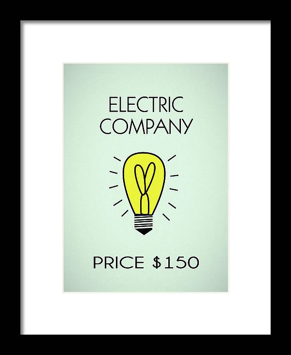 Monopoly Electric Company Framed Print featuring the mixed media Monopoly Electric Company by Dan Sproul
