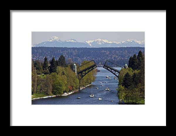 Drawbridge Framed Print featuring the photograph Montlake Bridge And Cascade Mountains by C. Chase Taylor