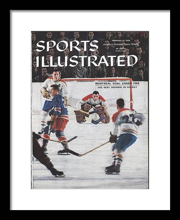Magazine Cover Framed Print featuring the photograph Montreal Canadiens Goalie Jacques Plante Sports Illustrated Cover by Sports Illustrated