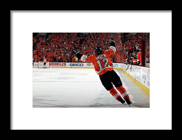 Playoffs Framed Print featuring the photograph Montreal Canadiens V Philadelphia by Bruce Bennett