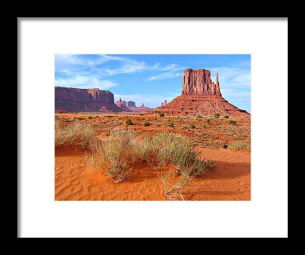 Tranquility Framed Print featuring the photograph Monument Valley Landscape by Sandra Leidholdt