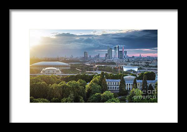 Scenics Framed Print featuring the photograph Moody Cityscape Of Moscow – Luzhniki by Sergey Alimov