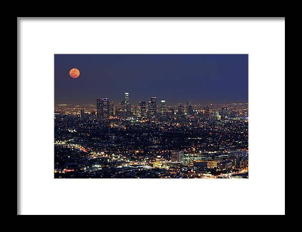 Tranquility Framed Print featuring the photograph Moon Over Los Angeles by Sandra Kreuzinger