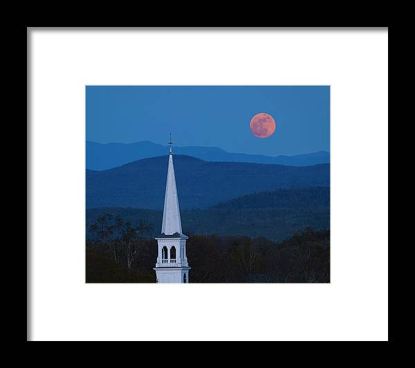 Moon Over Vermont Hills Framed Print featuring the photograph Moon Over Vermont Hills by Michael Blanchette Photography