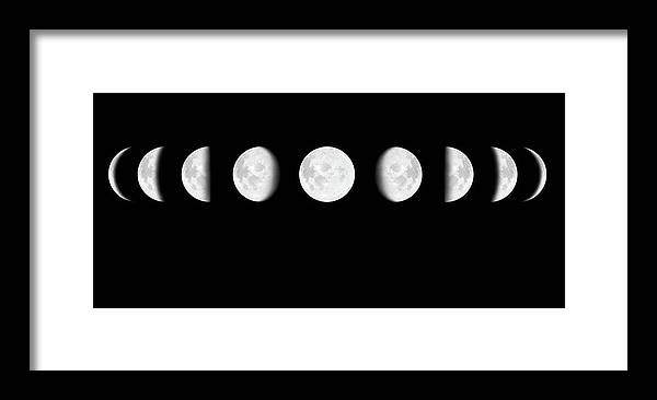 Sequential Series Framed Print featuring the photograph Moon Surface With Different Phases Xxxl by Cruphoto