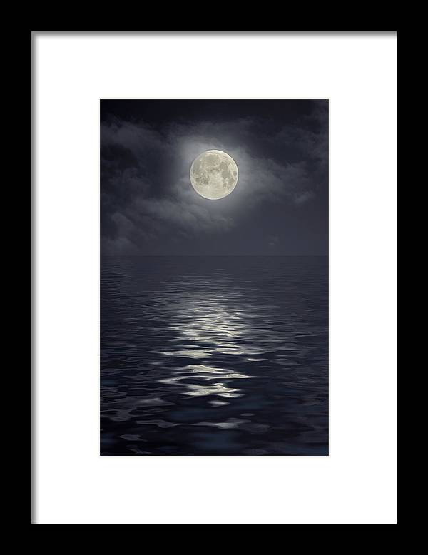 Scenics Framed Print featuring the photograph Moon Under Ocean by Andreyttl