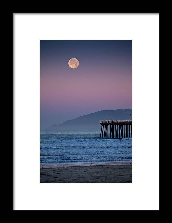 Pismo Beach Framed Print featuring the photograph Moonset At Pismo Beach by Mimi Ditchie Photography