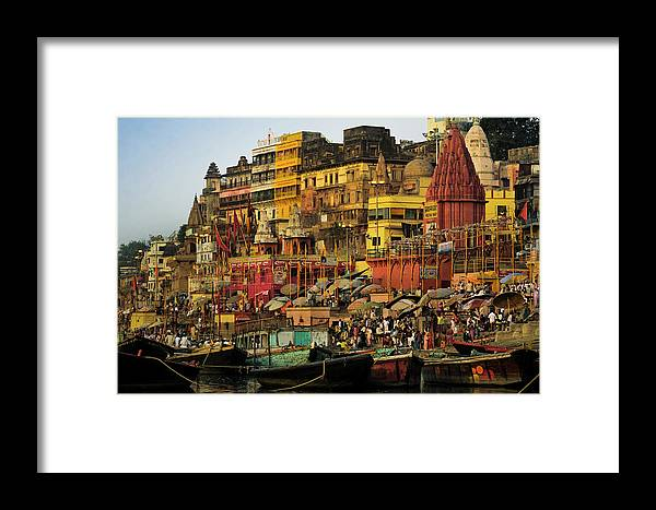 Crowd Framed Print featuring the photograph Moored Boats At The Sacred Prayag by Glen Allison