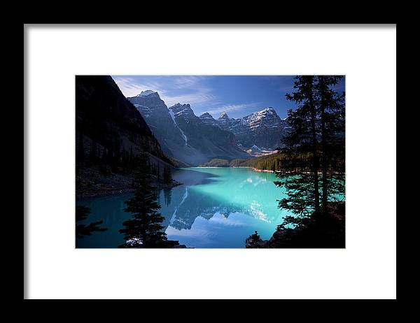 Extreme Terrain Framed Print featuring the photograph Moraine Lake, Banff National Park by Dan prat