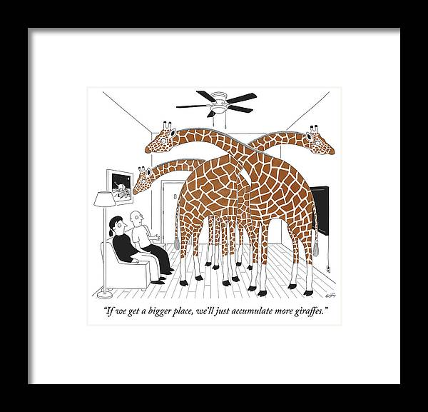 """if We Get A Bigger Place We'll Just Accumulate More Giraffes."" Framed Print featuring the drawing More giraffes by Seth Fleishman"