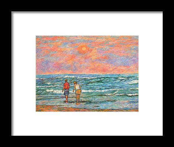 Isle Of Palms Framed Print featuring the painting Morning Stroll At Isle Of Palms by Kendall Kessler