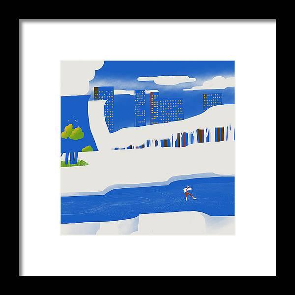 People Framed Print featuring the digital art Moscow December by Sergey Maidukov