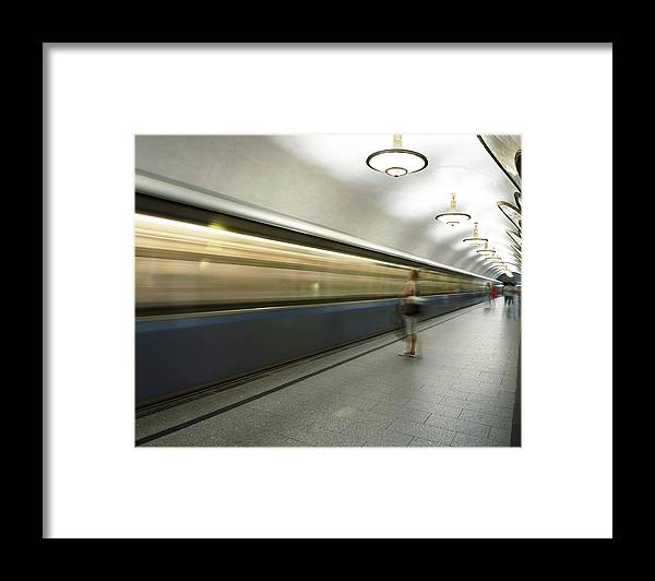 People Framed Print featuring the photograph Moscow Metro by Fmajor