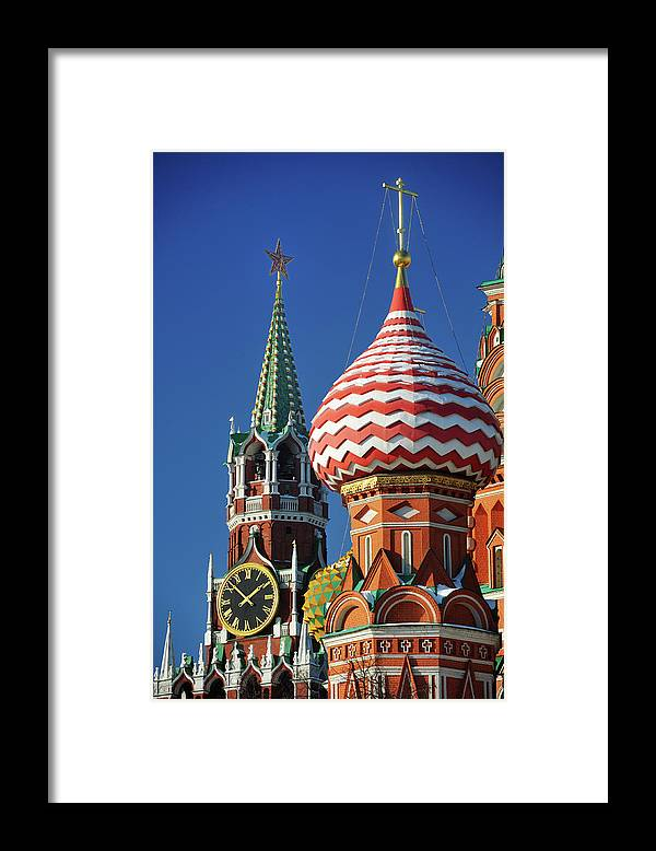Built Structure Framed Print featuring the photograph Moscow, Spasskaya Tower And St. Basil by Vladimir Zakharov
