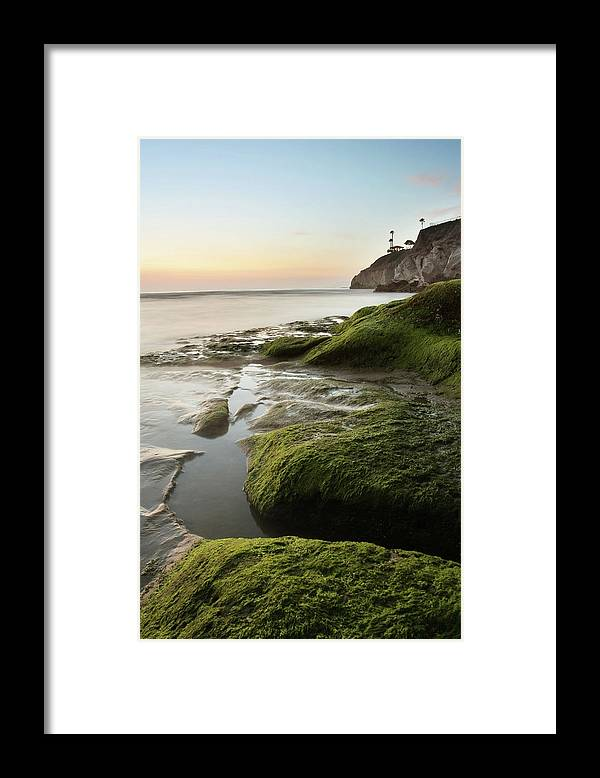 Pismo Beach Framed Print featuring the photograph Mossy Rocks At Pismo Beach by Kevinruss